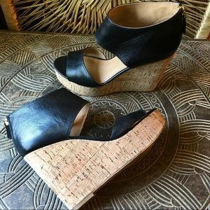 NINE WEST Caswell Wedge Sandal Black Leather 7.5